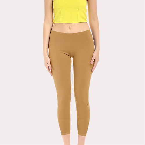 Light Brown Ankle Length Poly Cotton Legging image