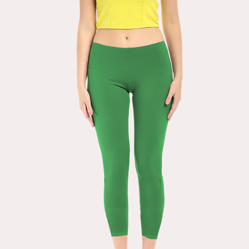 Green Ankle Length Poly Cotton Legging image