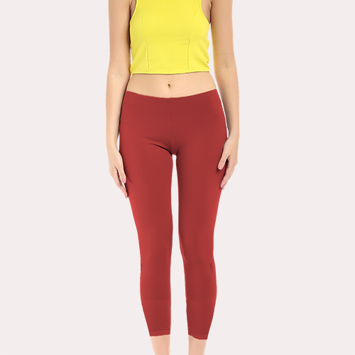 Red Ankle Length Polyester Legging image