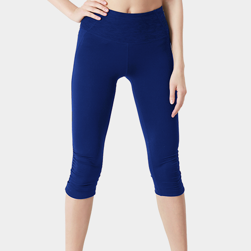 Dark Blue Capri Length Polyester Legging image