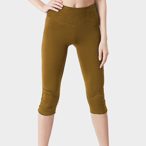 Light Brown Capri Length Cotton Legging image