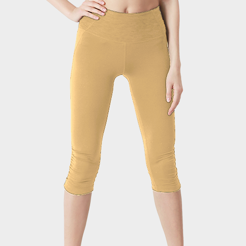 Light Cream Capri Length Polyester Legging image