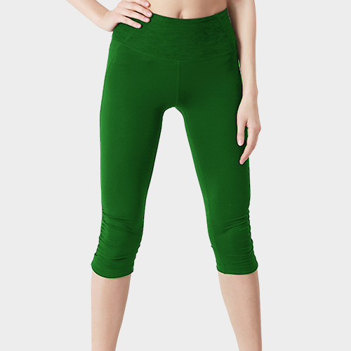 Green Capri Length Cotton Legging image