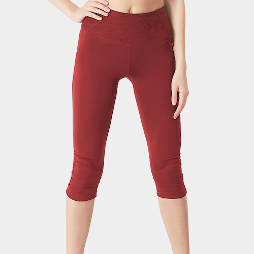 Red Capri Length Cotton Legging image