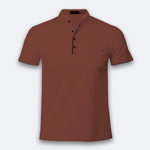 Boys Chinese Collar Half Sleeves Dark Brown image