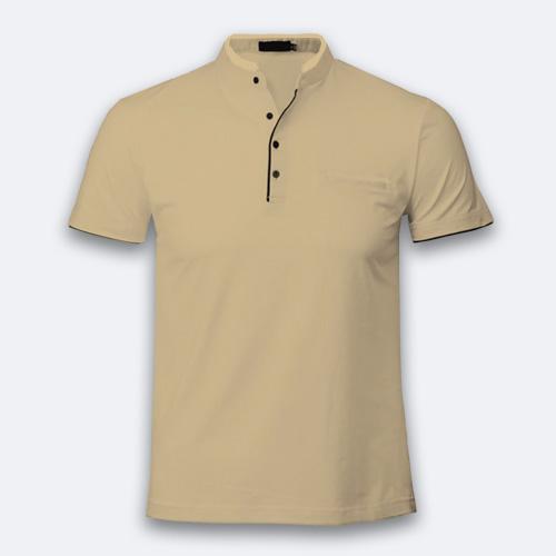 Boys Chinese Collar Half Sleeves Dark Cream image