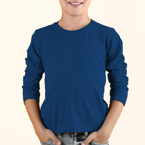 Boys Round Neck Full Sleeves Blue image