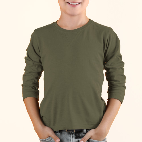 Boys Round Neck Full Sleeves Cement image