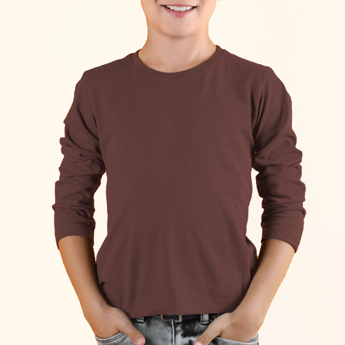 Boys Round Neck Full Sleeves Coffee image