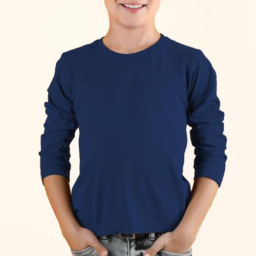 Boys Round Neck Full Sleeves Dark Blue image
