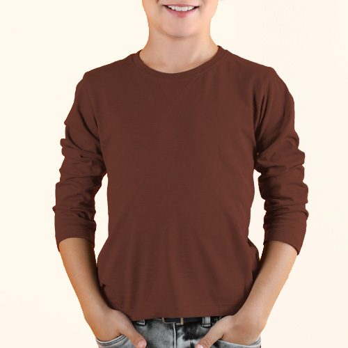 Boys Round Neck Full Sleeves Dark Brown image