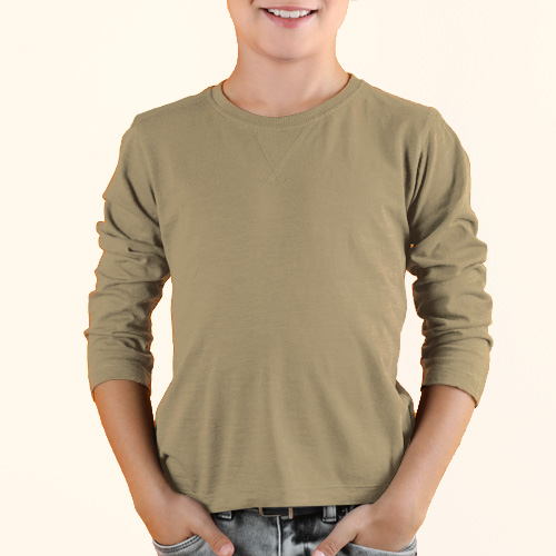 Boys Round Neck Full Sleeves Dark Cream image