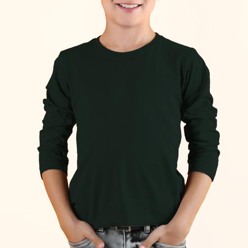 Boys Round Neck Full Sleeves Dark Green image