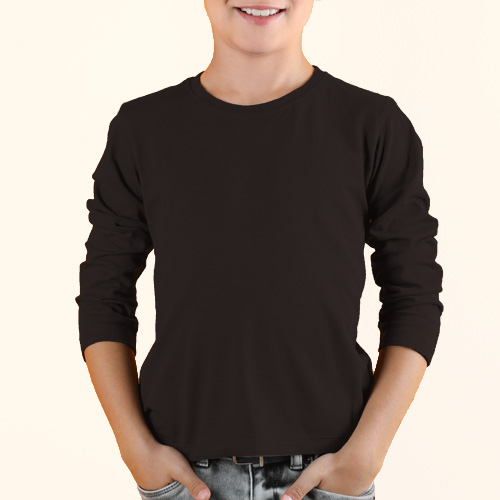 Boys Round Neck Full Sleeves Dark Grey image