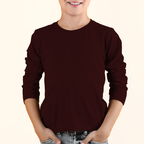 Boys Round Neck Full SleevesDark Maroon Color image