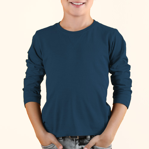 Boys Round Neck Full Sleeves Deep Sky Blue image