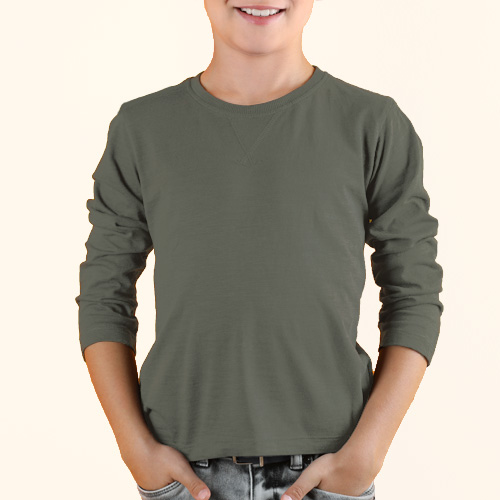Boys Round Neck Full Sleeves Dove Grey image