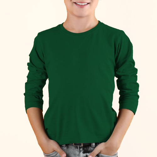 Boys Round Neck Full Sleeves  Green image
