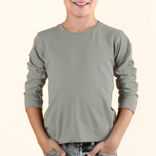 Boys Round Neck Full Sleeves Light Grey image
