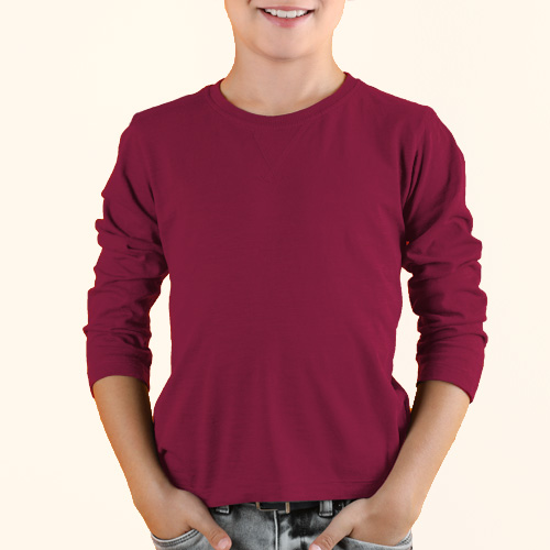 Boys Round Neck Full Sleeves Pink image