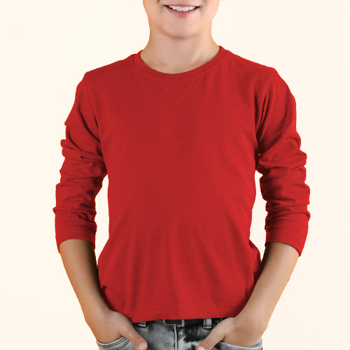 Boys Round Neck Full Sleeves Red image