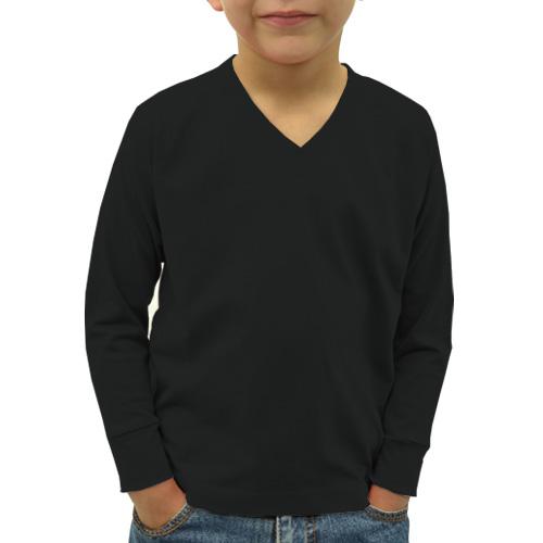 Boys V Neck Full Sleeves Black image
