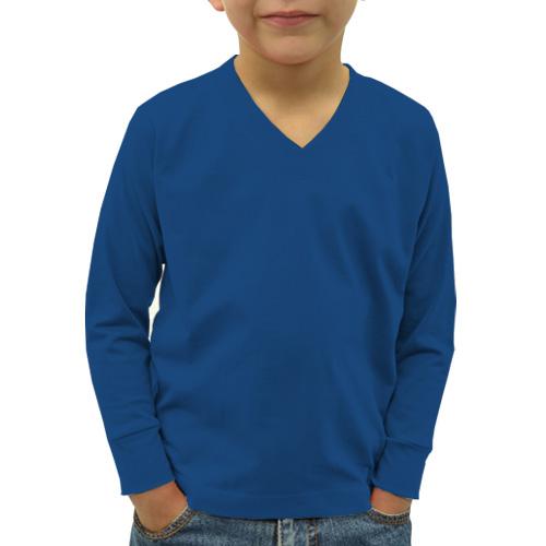 Boys V Neck Full Sleeves Blue image