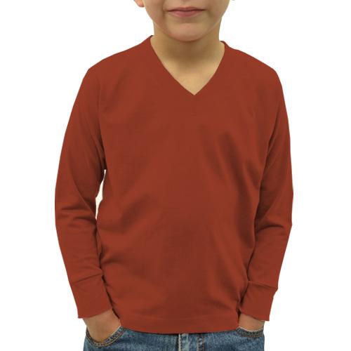 Boys V Neck Full Sleeves Brown image