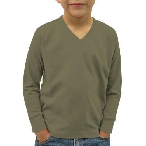 Boys V Neck Full Sleeves Cement image