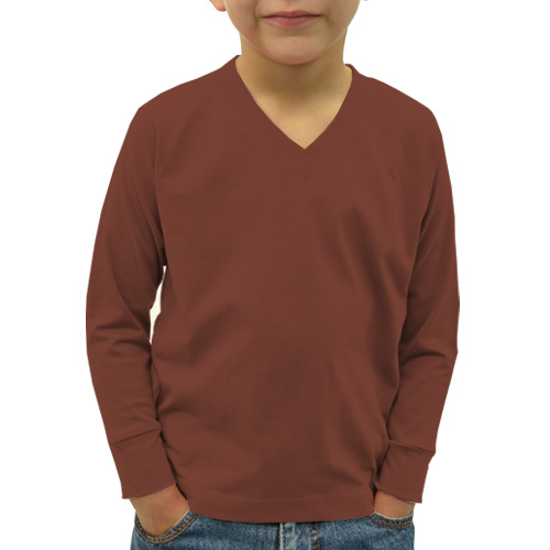 Boys V Neck Full Sleeves Dark Brown image