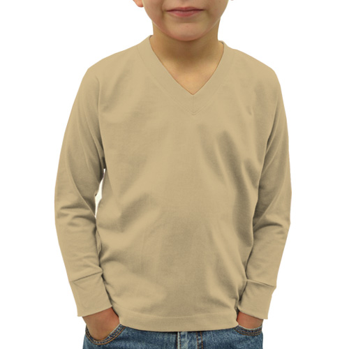 Boys V Neck Full Sleeves Dark Cream image