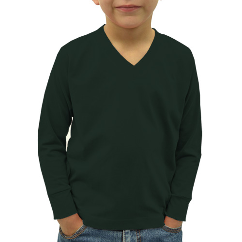 Boys V Neck Full Sleeves Dark Green image
