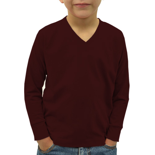 Boys V Neck Full SleevesDark Maroon Color image