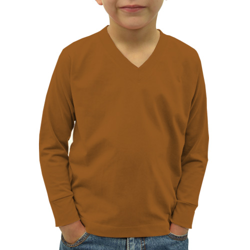 Boys V Neck Full Sleeves Dark Yellow image