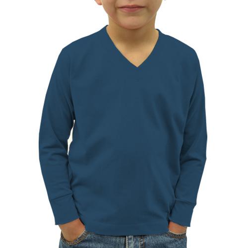 Boys V Neck Full Sleeves Deep Sky Blue image