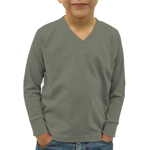 Boys V Neck Full Sleeves Dove Grey image