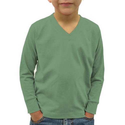 Boys V Neck Full Sleeves Green Apple image