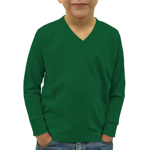 Boys V Neck Full Sleeves  Green image