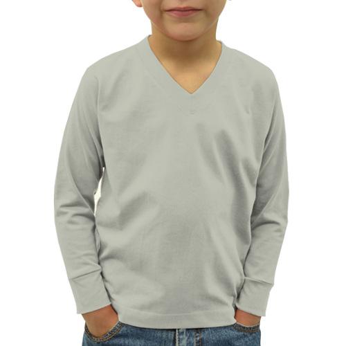 Boys V Neck Full Sleeves Light Grey image