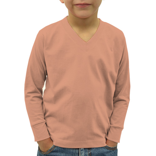 Boys V Neck Full SleevesLight Saffron image