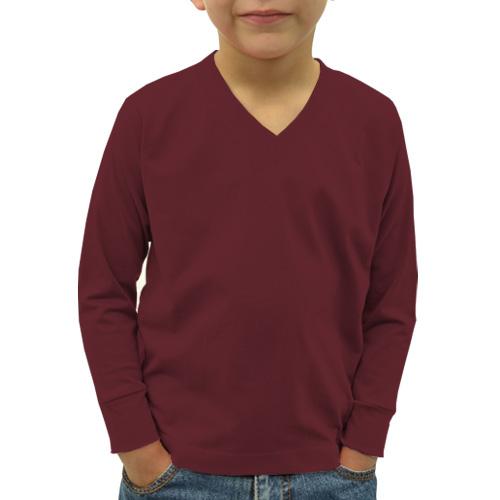 Boys V Neck Full Sleeves Maroon image