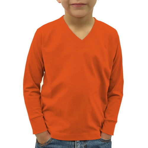 Boys V Neck Full Sleeves Orange image