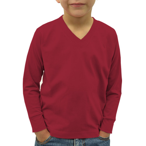 Boys V Neck Full Sleeves Radical Red image