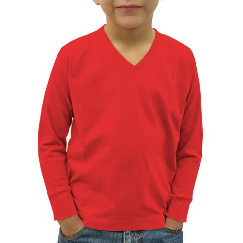 Boys V Neck Full Sleeves Red image