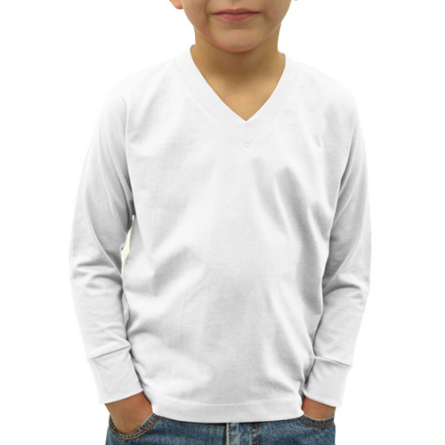 Boys V Neck Full Sleeves White image