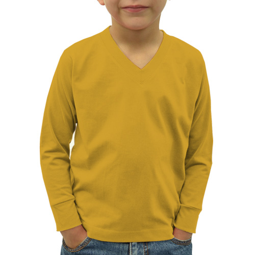Boys V Neck Full Sleeves Yellow image