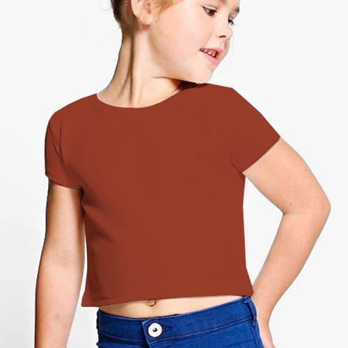 Girls Cropped Half Sleeves Brown image