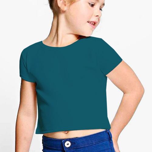 Girls Cropped Half Sleeves Dark Sky Blue image