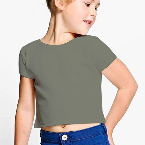 Girls Cropped Half Sleeves Dove Grey image