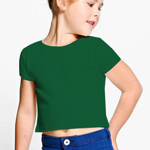 Girls Cropped Half Sleeves  Green image